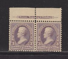 253  M OG NH  TOP IMPRINT PAIR, LH IN SELVAGE STAMPS NH