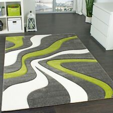 Modern Living Room Rug Abstract Waves Soft Mat Carpet Small Large Mat Green Grey