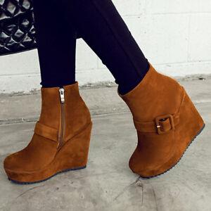 Womens Winter  Platform Punk Ankle Boots Zip Wedge Heel Booties Shoes US 6 Brown
