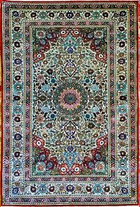 SILK RUG. MIDDLE EAST. 100 KNOTS PER CM2. APPROX. 121X78 CM. MIDDLE EAST. C.1970