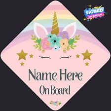 Personalised Unicorn Face Floral Child/Baby on Board Car Sign New ~ Rainbow Pink