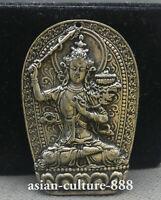 65MM China Miao Silver Guan Yin Goddess Wenshu Manjushri Amulet Pendant Buddha S