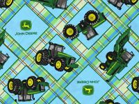FAT QUARTER  JOHN DEERE TRACTOR FABRIC PLAID ON PLAID PATCH SPRINGS CREATIVE  FQ