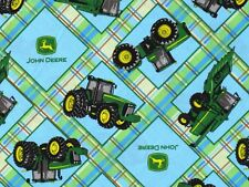 JOHN DEERE TRACTOR FABRIC  PLAID ON PLAID PATCH  SPRINGS CREATIVE  BY THE YARD