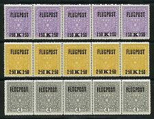 AUSTRIA AIRMAILS  SCOTT#C1/3 STRIPS OF FIVE  MINT NEVER HINGED