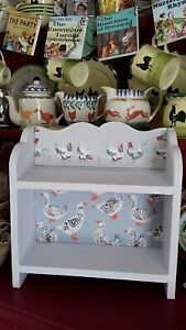 SHABBY CHIC WOODEN DISPLAY SHELF UNIT MADE WITH LAURA ASHLEY CHICKEN DESIGN HOME
