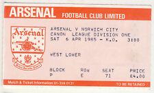 Ticket : Arsenal v Norwich City 6/4/1985