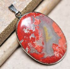 "Bloodstone Jasper Sea Sediment Quartz Natural Gemstone 1.75"" Silver Pendant #39"