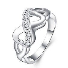 Infinity Silber Ring Unendlichkeit Zirkonia Herz rhodiniert Liebe Clückbringer