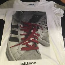 Adidas Original White SUPERSTAR SNEAKERS T-Shirt Sz S 80's Style