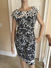 ST. JOHN Dress Size 10 Caviar/Ivory Sparkle Knit