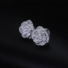 silver Stud Earring rose flower jewelry wedding Solid cute women lady hot sale