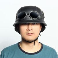 Vintage Motorcycle Black German Half Face Helmet Goggles Chopper Cruiser Biker
