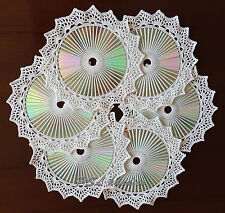 Elegant 1 Set/ 6Pcs White Round Hand Crochet Cotton And Cd Doily cupmat