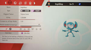 Shiny Impidimp 6IV Max EVs Competetive Pokemon Sword Shield FAST DELIVERY