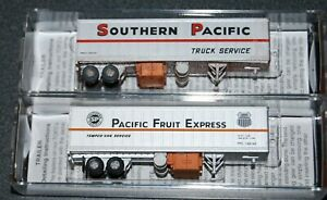 (2) Micro Trains  SP Trailer #200287 & PFE Trailer #149143 -lightly weathered-