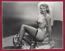 Vintage Nude Photo~Mega Big Breasts Curvaceous Sultry Redhead Pinup in Fishnets