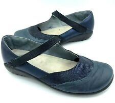 Naot Womens Size 40 Leather Slip On Strap Shoes Blue Leather Nursing
