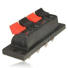 4-Way AMP Conector Regleta 4 Bornes Estéreo Altavoz Audio Caja de Cableado Clips