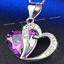 BLACK FRIDAY Xmas Gift For Her Amethyst Purple Crystal Heart Necklace Wife Women