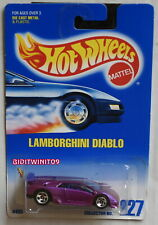 HOT WHEELS 1991 BLUE CARD #227 LAMBORGHINI DIABLO PURPLE W+