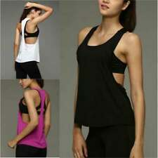 Women Sports Vest Fitness Running Gym Yoga Solid Tank Tops Singlet Loose T Shirt
