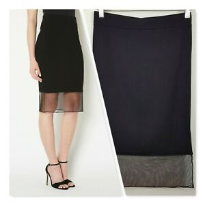 [ WITCHERY ] Womens Black Pencil Skirt w/ Mesh Trim | Size S or AU 10