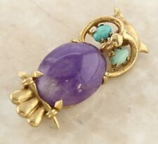 Vintage 9ct Yellow Gold Turquoise Purple Stone Owl Bar Brooch
