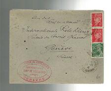 1942 France Internment  Concentration Camp de Recebedou Prisoner Cover Red Cross