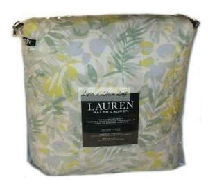 RALPH LAUREN Talia Pond Lime 3P KING COMFORTER SET NWT COTTON Leaf