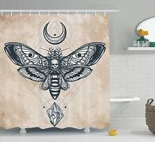 Dead Head Hawk Moth with Luna and Stone Skull Illustration Shower Curtain Set