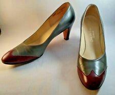 Vintage Saks Fifth Avenue Fenton Last 9 1/2 Grey Maroon Leather Mid-Heel Pumps
