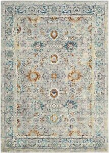 Vintage Inspired Rug, Woven Polyester Carpet in Grey / Multi, 160 X 230 cm (F2)