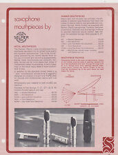 1973 AD SHEET #2576 - SELMER MUSICAL INSTRUMENT - SAXOPHONE MOUTHPIECES