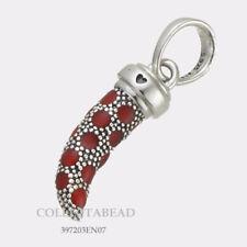 Authentic Pandora Silver Red Enamel Italian Horn Pendant 397203EN07 NEW!!!