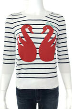Ladies White Striped With Swan Design Jumper Size US 10 By Topshop
