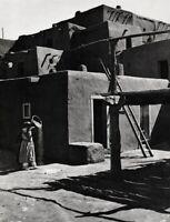 1929 Vintage ANSEL ADAMS Taos Architecture NEW MEXICO Grain Prep Photo Art 16x20
