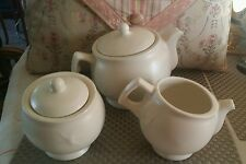 KleinReid Porcelain Klein Reid tea pot creamer and sugar bowl set. simple beauty