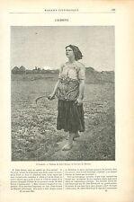 Le chant de l'alouette Glaneuse Tableau Jules Breton GRAVURE ANTIQUE PRINT 1890