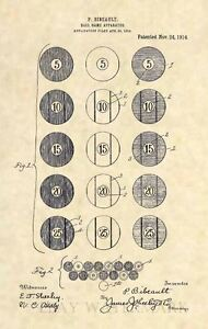 Original 1914 Billiard Ball US Patent Art Print-Vintage Pool Table Balls Cue 396