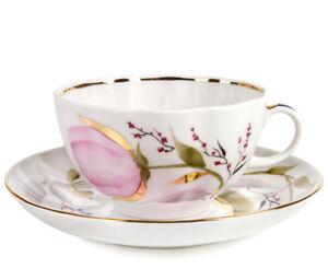 8.5 fl oz Teacup & Saucer by Imperial Porcelain IFZ LFZ Pink Tulips Lomonosov