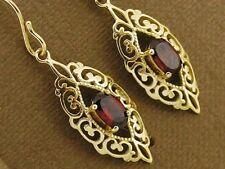 E087- Ornate Genuine 9ct Solid Gold NATURAL Garnet Filigree Drop Earrings