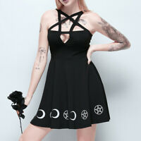 Girls Gothic Style Punk Black Moon Star Print Sleeveless Hollow Out Mini Dresses