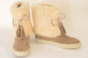 Tory Burch beige 10 suede rabbit fur tassel pull on ankle boot shoe NEW $395