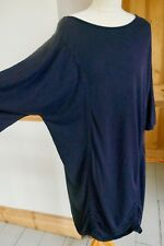 COS Navy Blue Ruched Lagenlook Dress Size 14/16 Ex Con