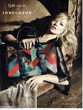 PUBLICITE ADVERTISING 056  2010  Longchamp  sac dessiné par Kate Moss