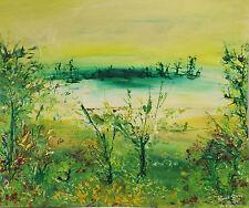 """""""Abstraites Paysage avec Lac """"Techniques mixtes. signé dat. Kama Woox 94-01"""