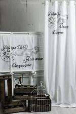 POSTSTEMPEL GRAU Gardine 2x(145x250cm) Vorhang FRENCH NORDIC STIL Gardine Shabby