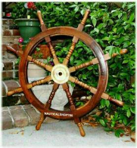 36 Inch Antique Ship Wheel Teak Brass Nautical Steering Pirate Decor Wooden