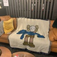 Soft Kaws Throw Blanket For Home Cozy Couch Bed Beach Travel Cotton Woven Knit